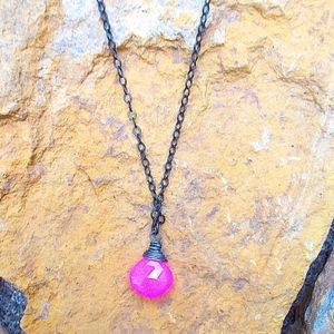 Pink Chalcedony Necklace w/Black Metal Chain